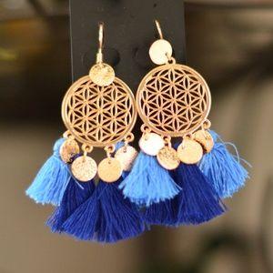 Boho Gold Dreamcatcher Tassel Earrings Navy Blue